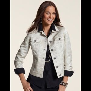 NEW CHICO Metallic Lace Jacquard Jean Jacket-Sze 2